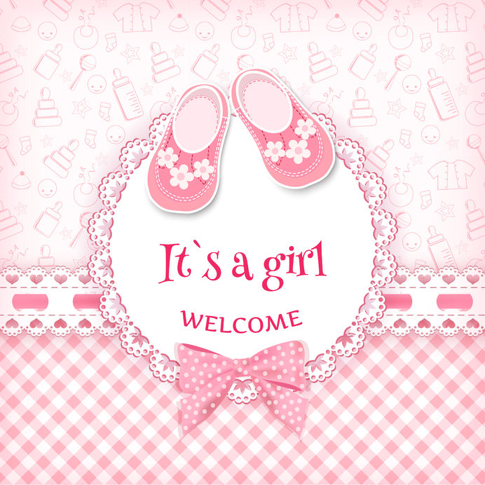 007 - It's a girl - welcome - schoentjes - strik - roos - meisje